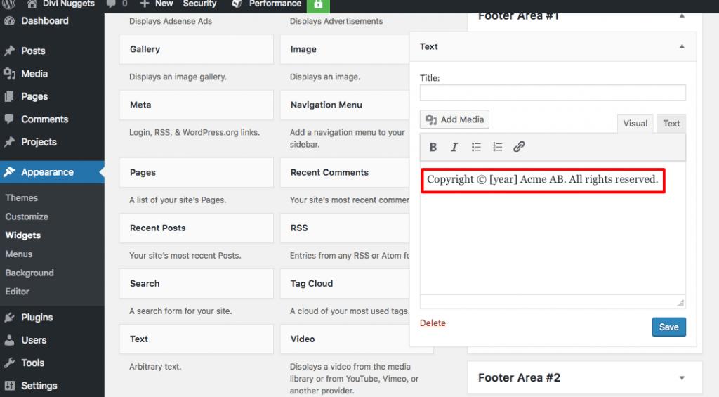 Ajouter le shortcode de l'année en cours au pied de page WordPress