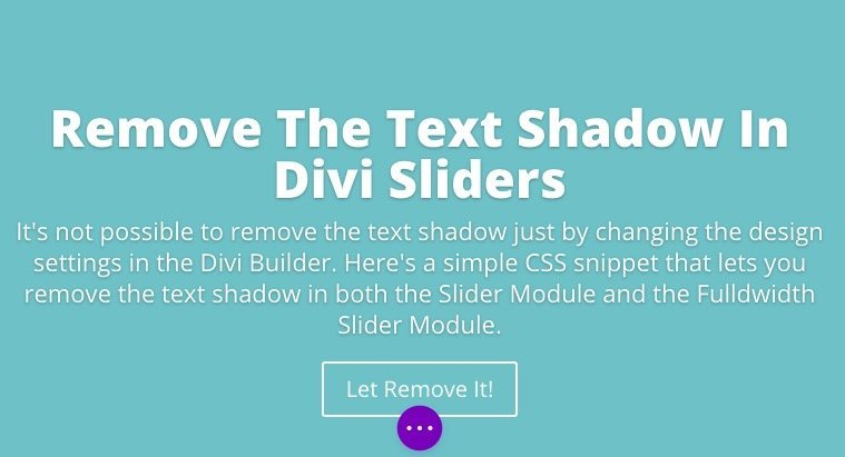 Divi slider module with text shadow