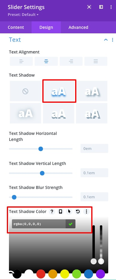 Remove text shadow in the Divi slider