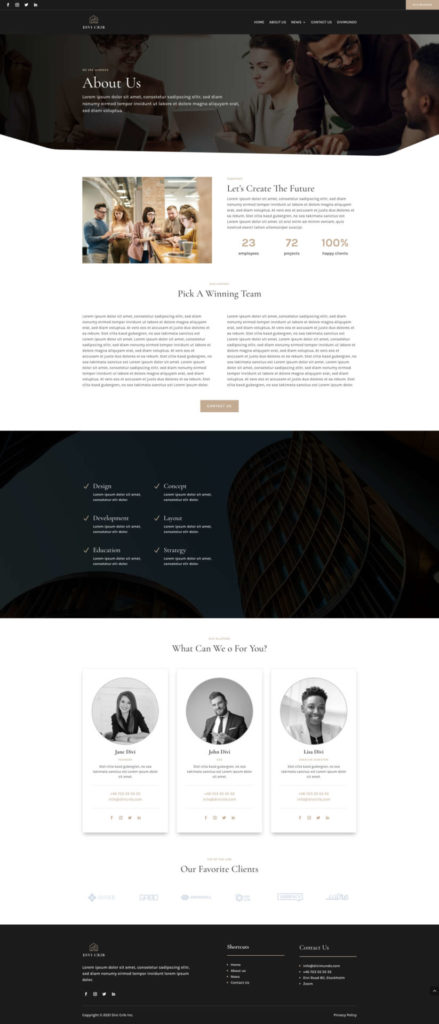 About us page made with Divi