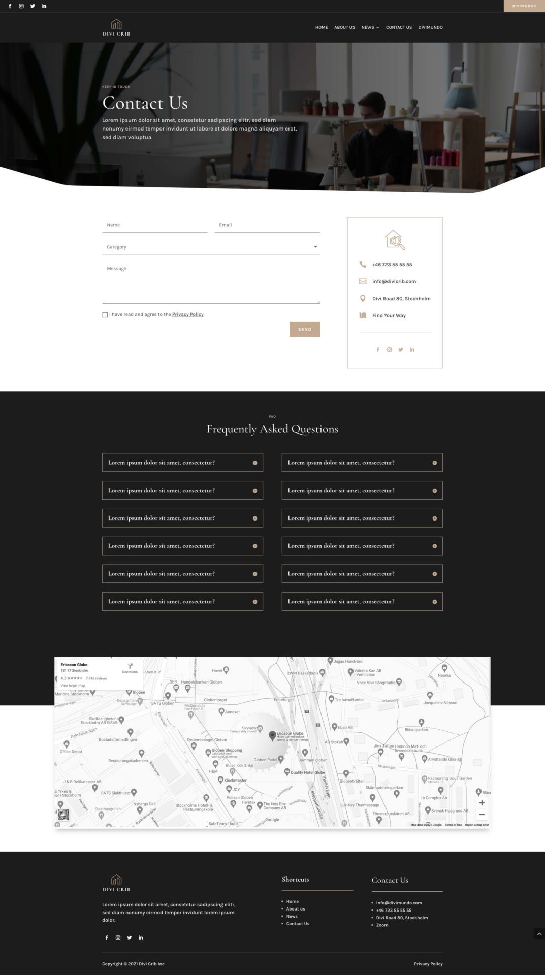 Contact page made with Divi