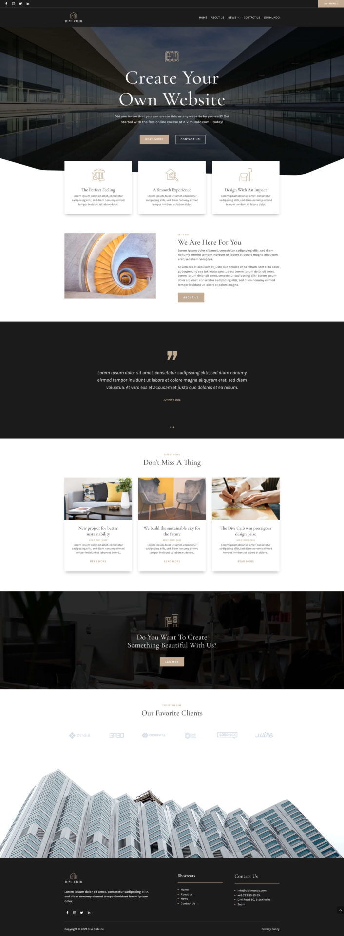 Homepage made with Divi