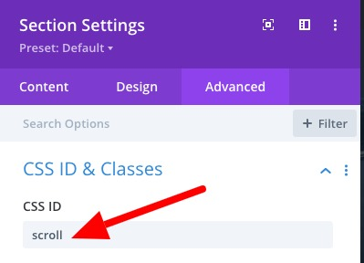 Scroll down CSS ID
